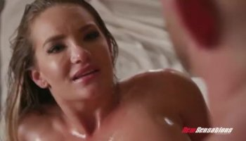 Horny blonde milf Devon Lee with big tits rides on top and gets pounded doggystyle.