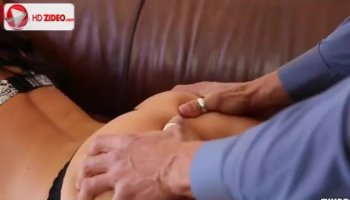 Horny young girls with strapon on bedstead