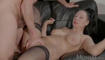 Stepmom with big tits enjoyed threesome action on the bed